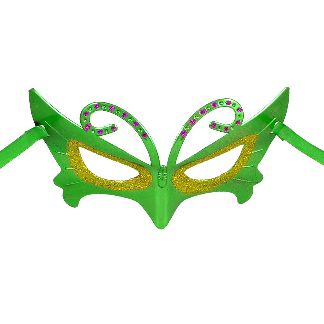 Lady Rhinestone Gold Tone Powder Detail Self Tie Fancy Party Eye Mask Green