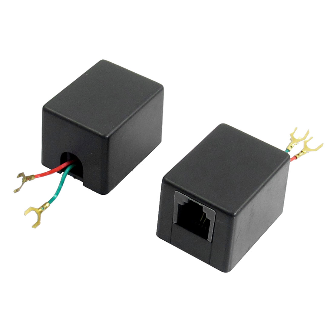 2 Pcs Black Telephone RJ11 Female to 2-wire Convertor Inline Coupler Adapter