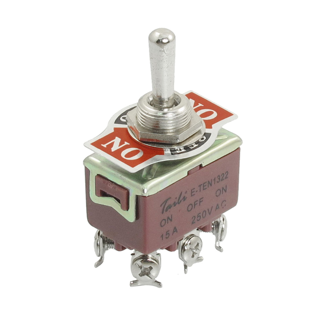 AC 250V 15A 12mm Diameter Screw Mount Toggle Switch DPDT 6 Pins