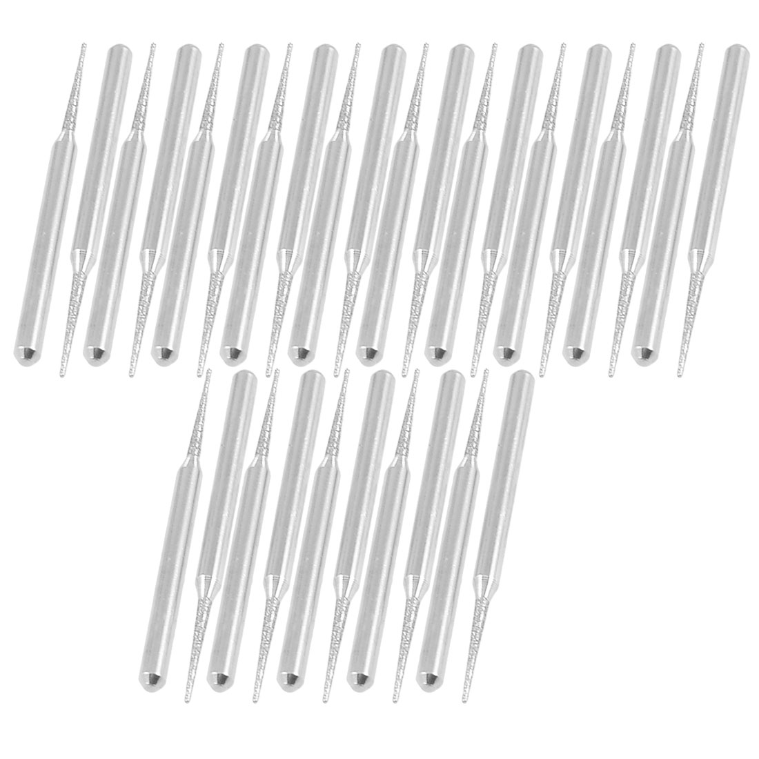 30 Pcs 3mm Shank 1.5mm Tapered Tip Grinding Diamond Mounted Bits Silver Tone