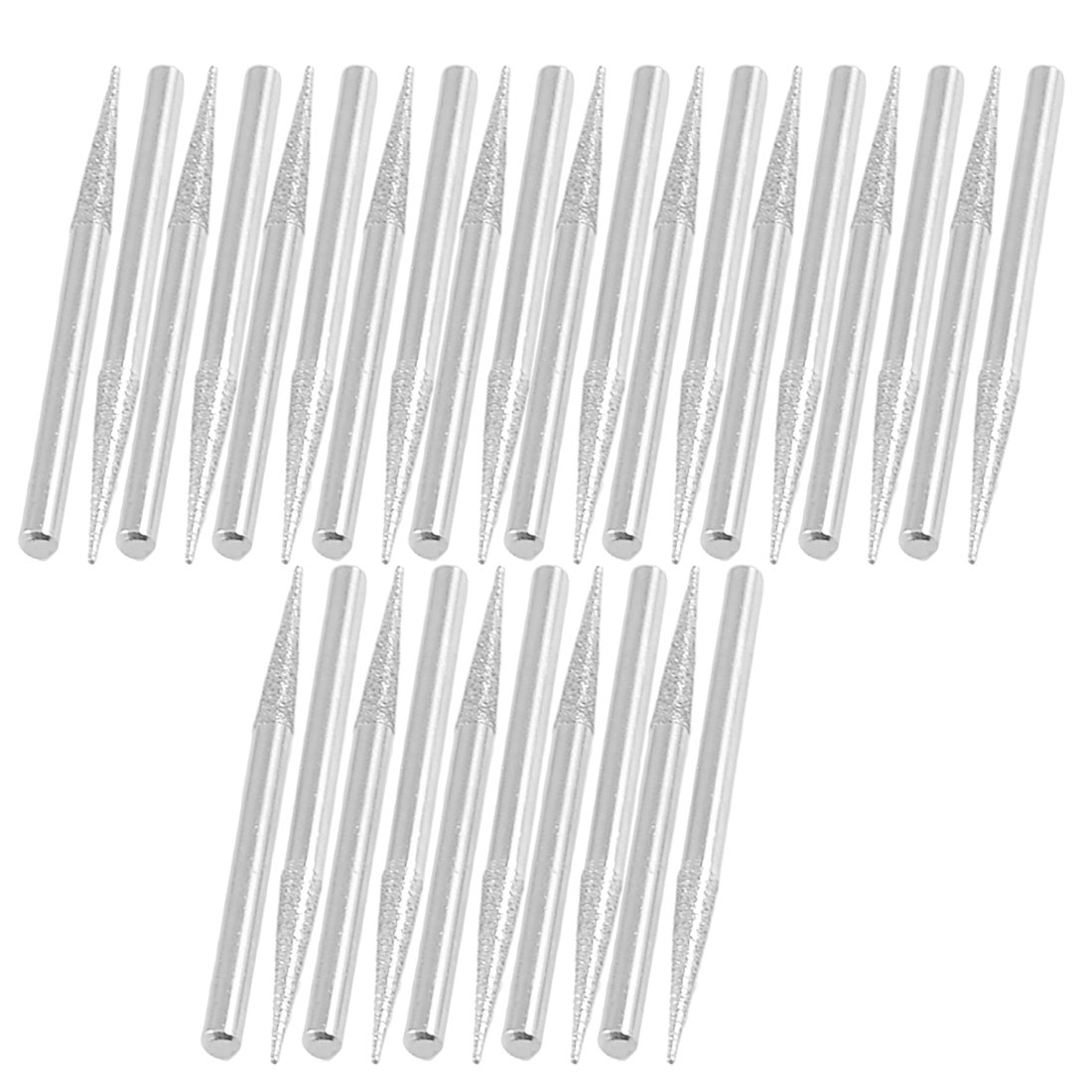 30 Pcs 3mm Dia Tapered Head 3mm Shank Grinding Diamond Mounted Bits Silver Tone