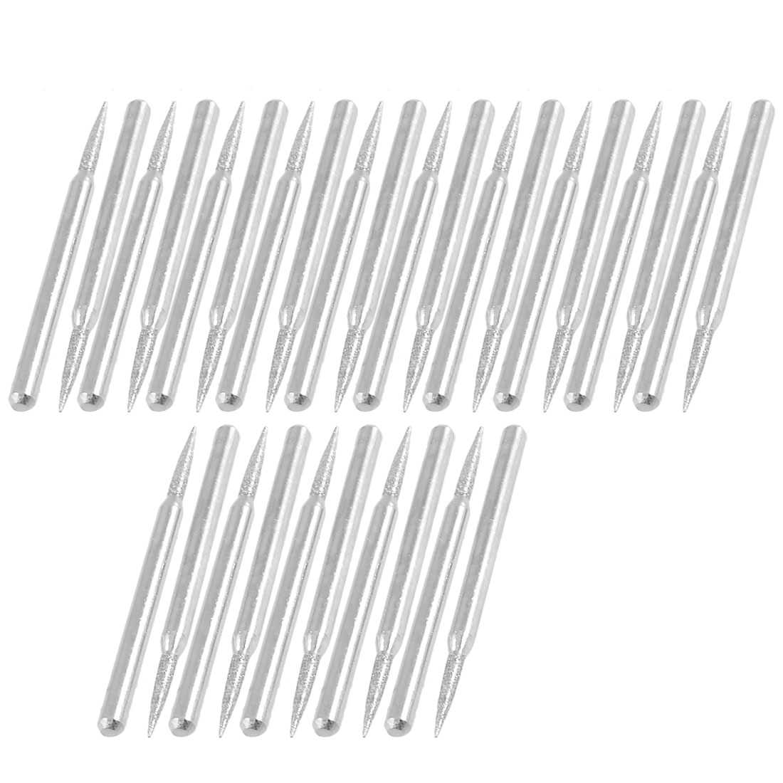 30 Pcs 2mm Taper Point 3mm Shank Alloy Diamond Mounted Bits Grinding Tool