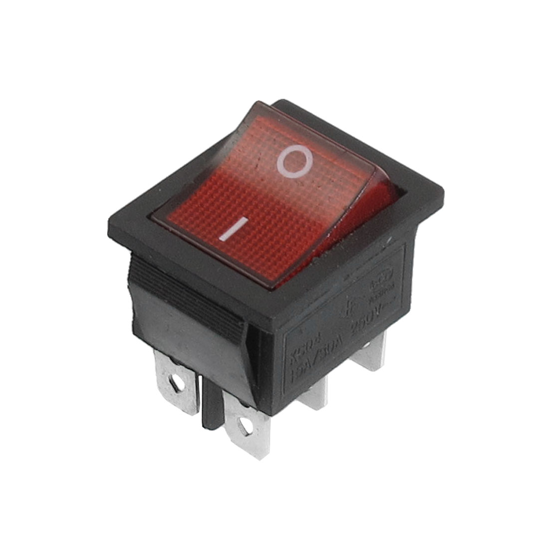 Red Button 6 Pins DPDT On-On Snap in Boat Rocker Switch AC 250V 15/30A