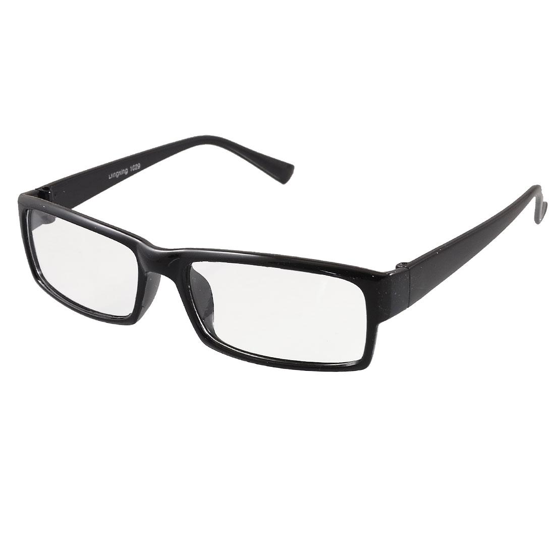 Ladies Rectangle Clear Lens Black Plastic Full Frame Plano Glasses