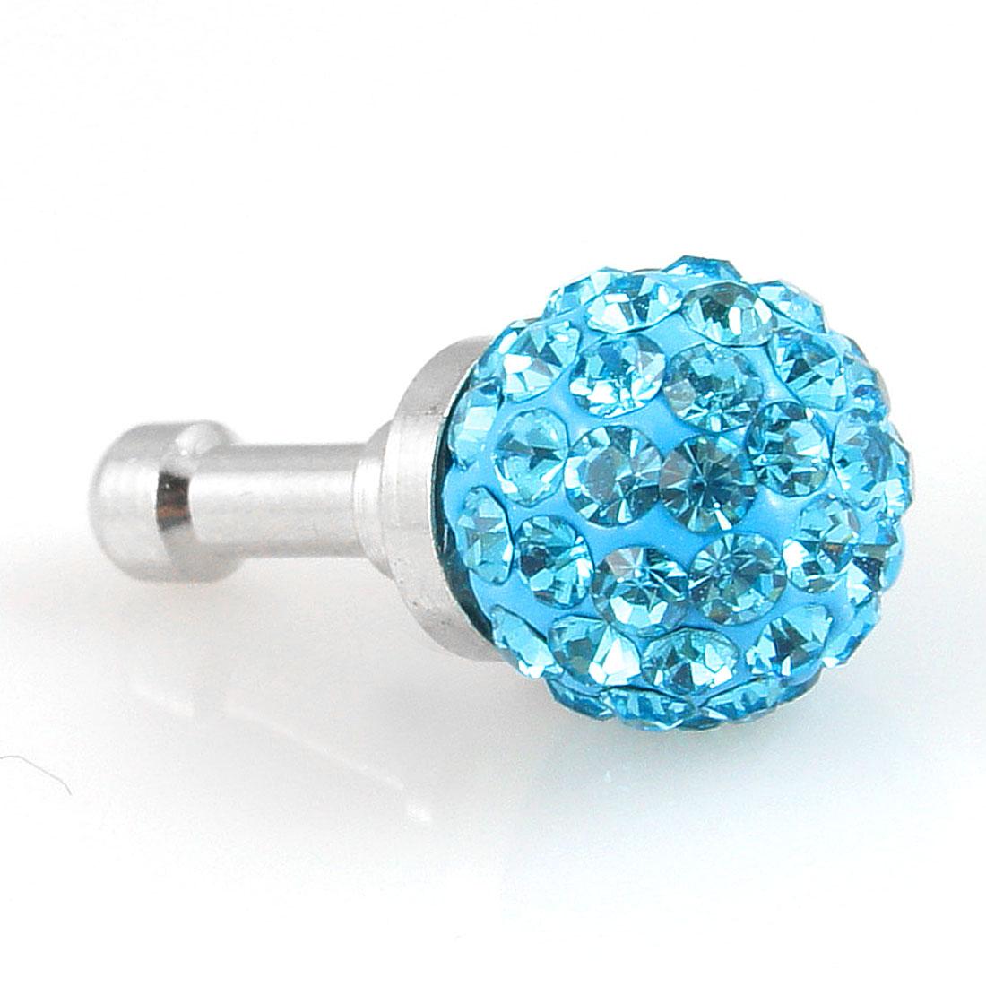 Bling Light Blue Crystal 3.5mm Earphone Ear Cap Anti Dust Cover for Phone