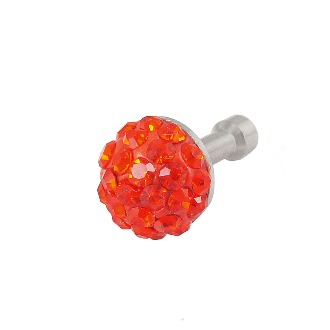 Red Bling Crystal 3.5mm Anti Dust Earphone Cap Stopper for iPhone 3G 4 4S 5G