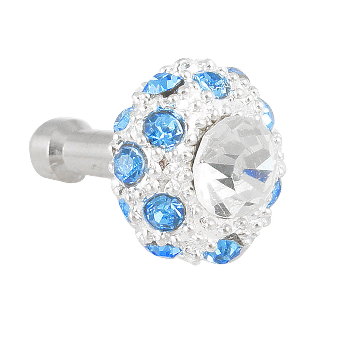 Bling Blue Crystal 3.5mm Anti Dust Earphone Stopper for Phone