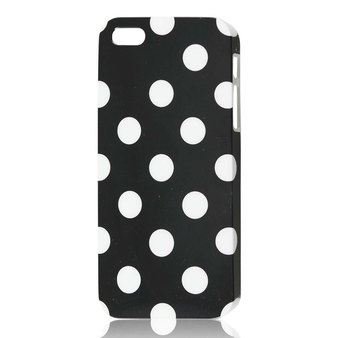 White Polka Dots Pattern Black Hard Skin Case Cover for iPhone 5 5G