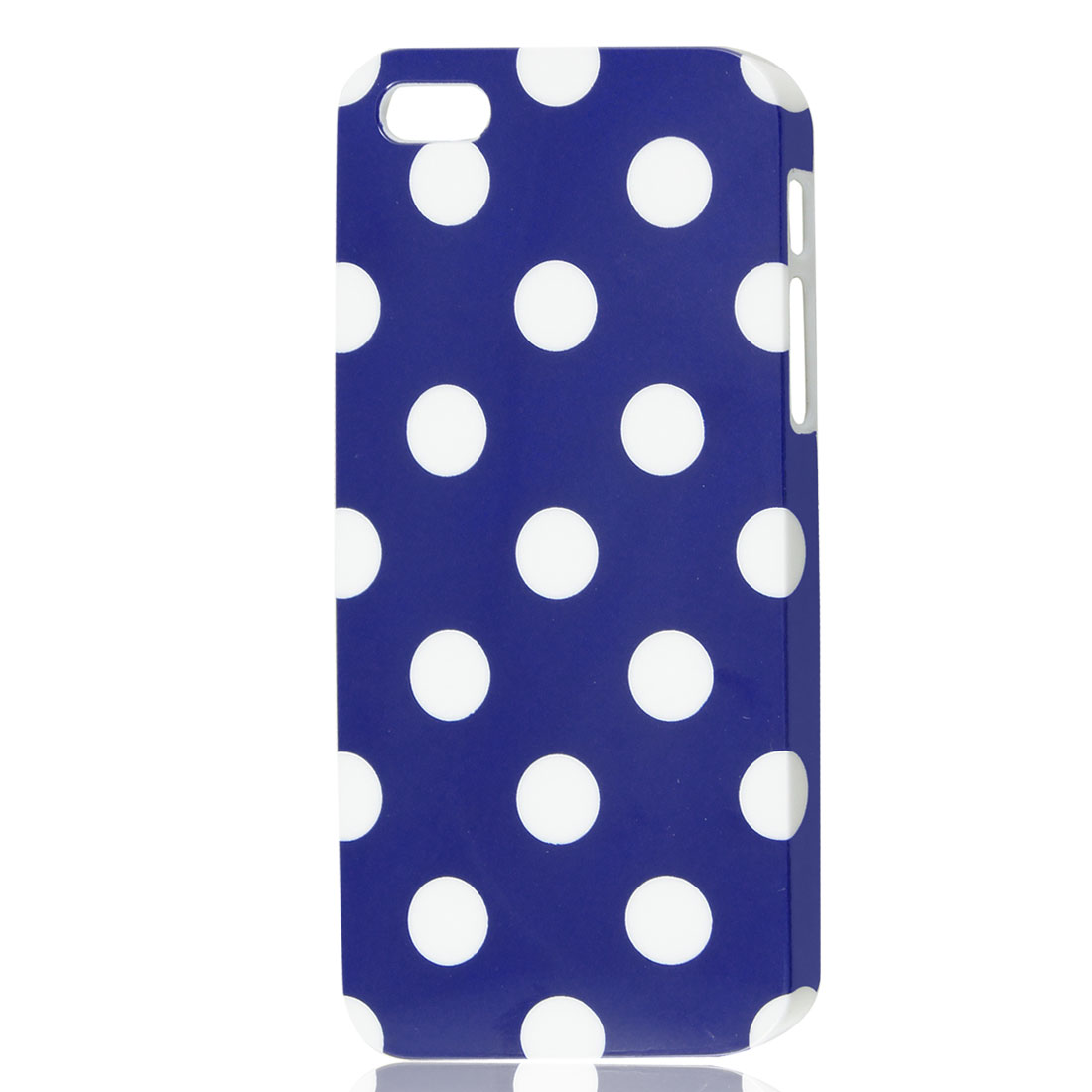 White Polka Dots Pattern Blue Hard Skin Case Cover for iPhone 5 5G
