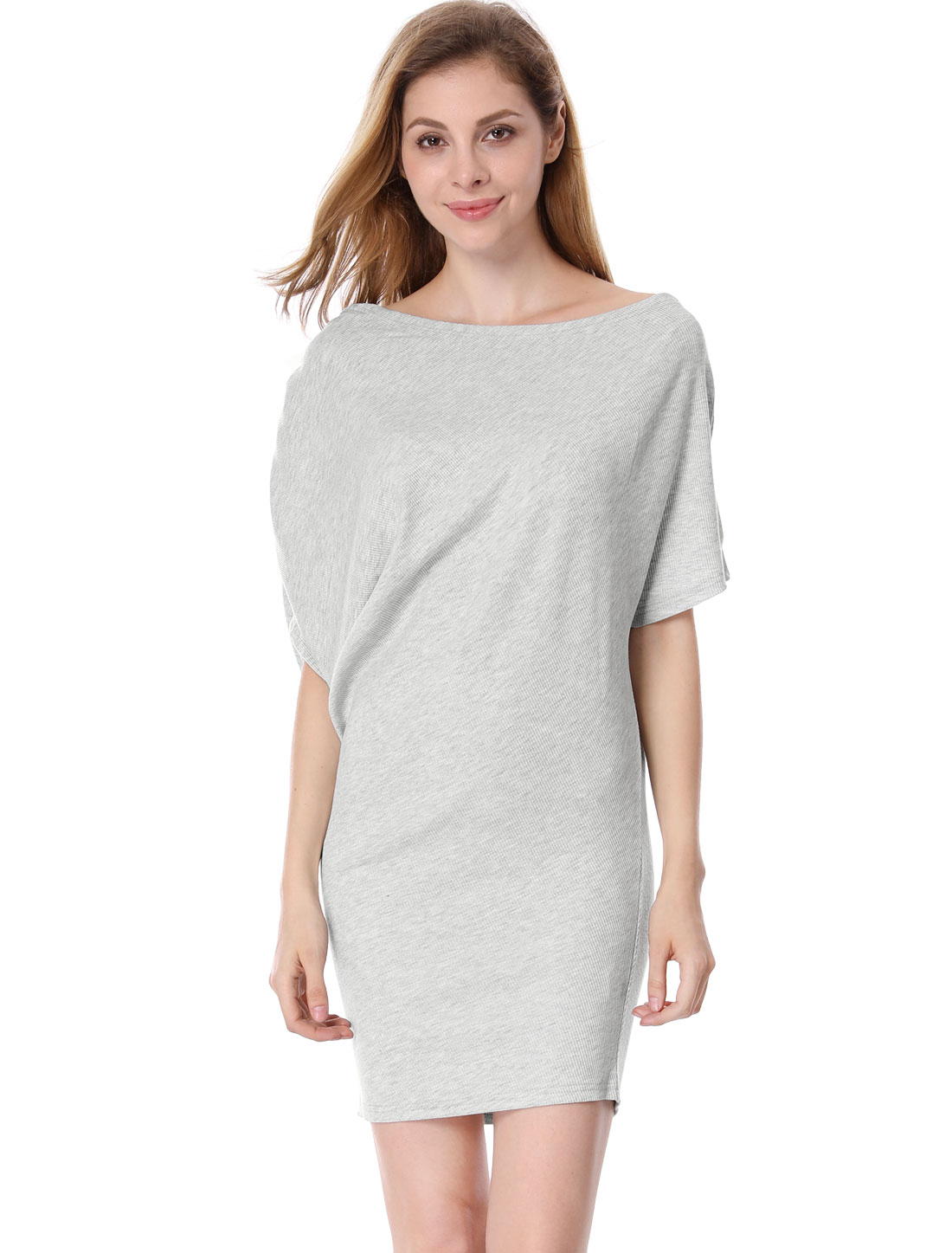 Ladies Light Gray Batwing Sleeves Pullover Stretchy Summer Dress S