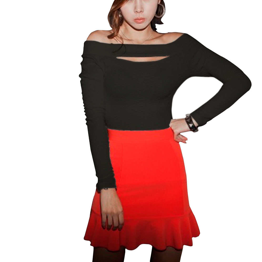 Ladies Black Boat Neck Cut Out Front Stretchy Autumn Tee Shirt XS