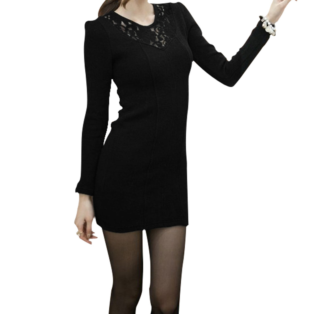 Ladies Black Puff Sleeves Lace Panel Skinny Autumn Mini Dress XS