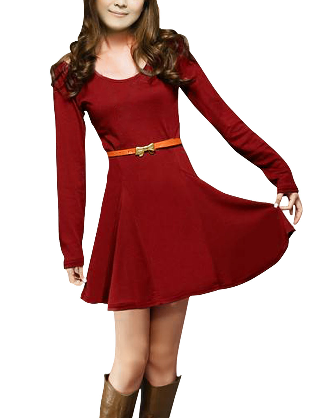 Women Cut Out Shoulders Long Sleeves Belted Mini Dress Burgundy XS