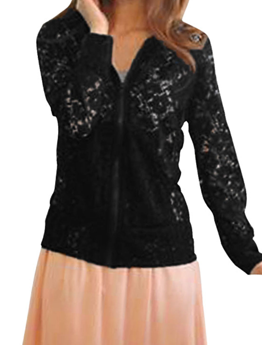 Lady Black Long Sleeve Cut Out Design Slant Pockets Front Lace Hoodie XS