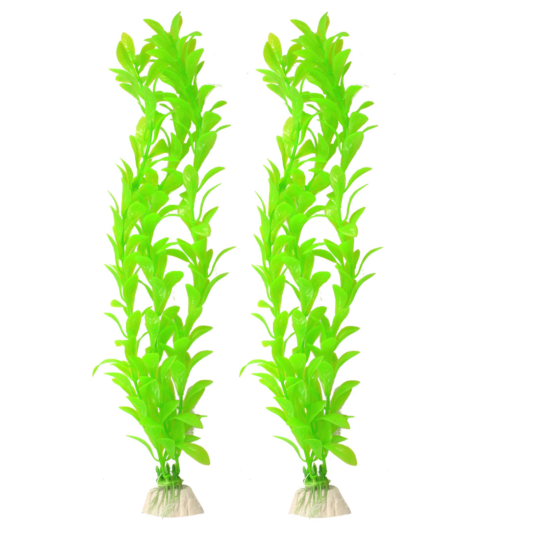 "2 Pcs 13"" Height Green Emulational Plants Decor for Fish Tank"