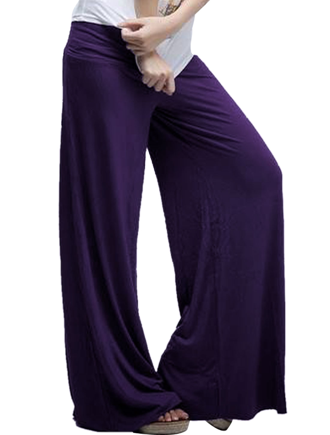 Ladies Dark Purple Elastic Waist Spring Strethcy Loose Leg Opening Pants XS