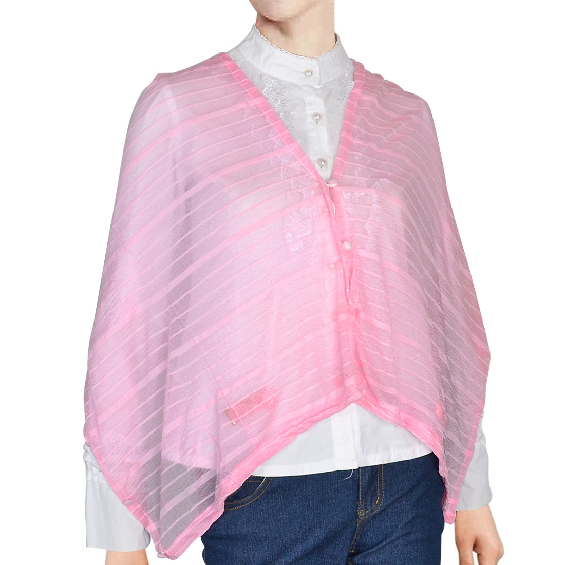 "66.1"" x 15.4"" Button Down Design Rectangle Wrap Shawl Pink"