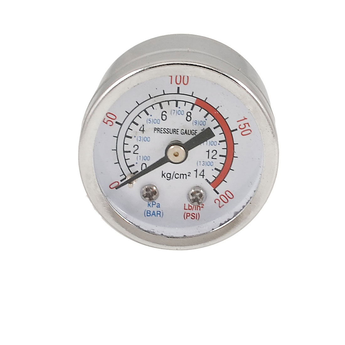"0-14 Bar 0.38"" Male Thread Air Pressure Gauge Manometer White Silver Tone"