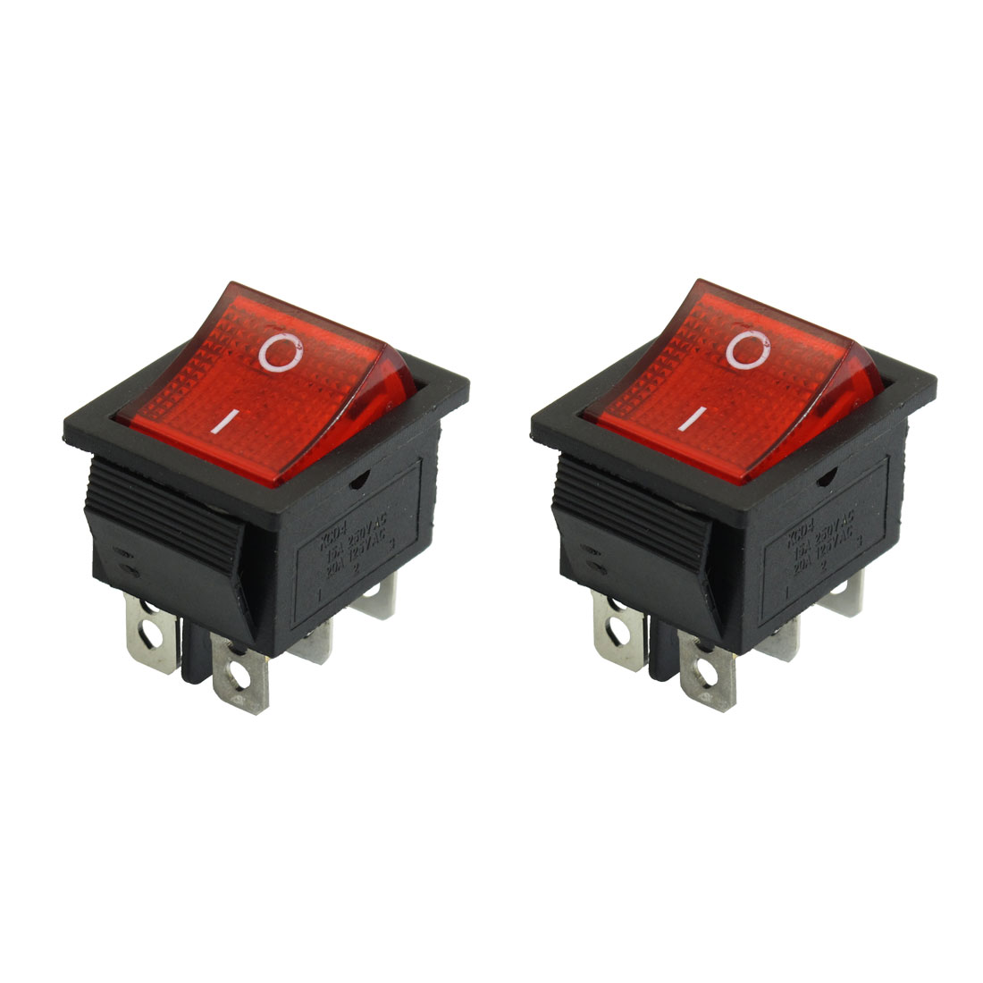 2 Pcs 250VAC 15A 125V 20A Red Light 6 Pin DPDT Snap in Boat Rocker Switch
