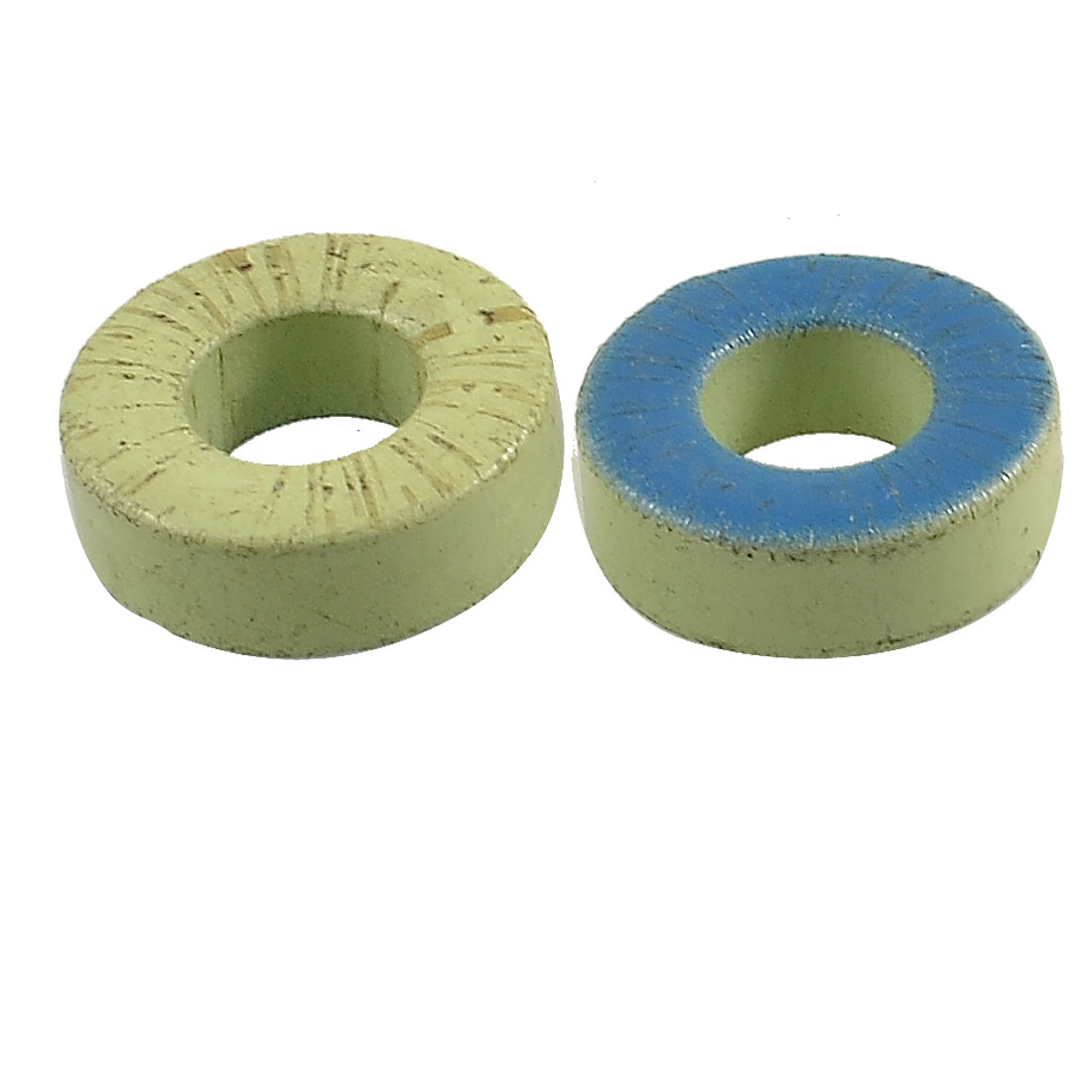 "2 Pcs Power Iron Transformers Ferrite Toroid Cores Green Blue 1.3"" x 0.77"" x 0.45"""