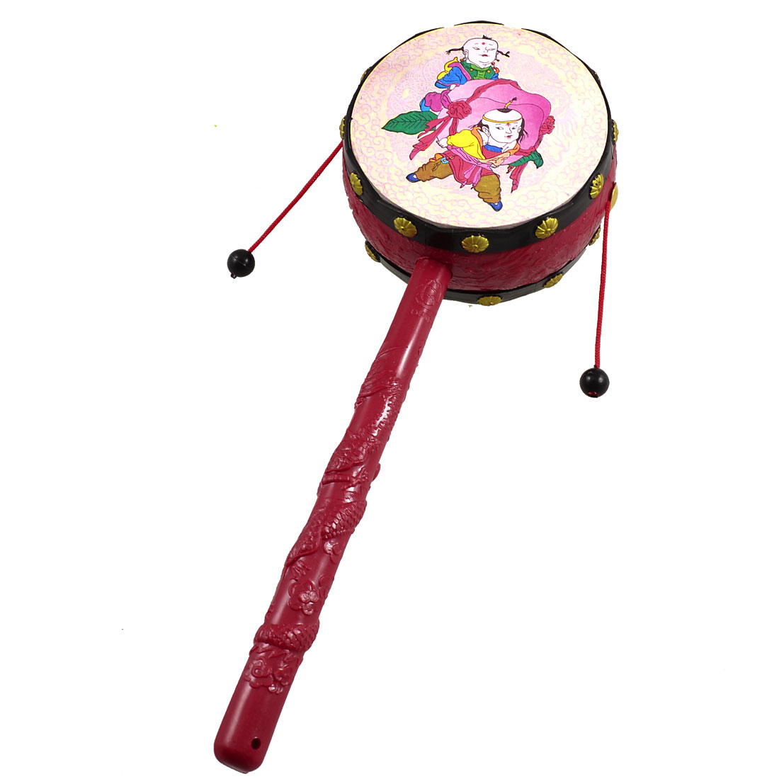 Toddlers Nonslip Plastic Handle Music Instrument Rattle Drum Toy