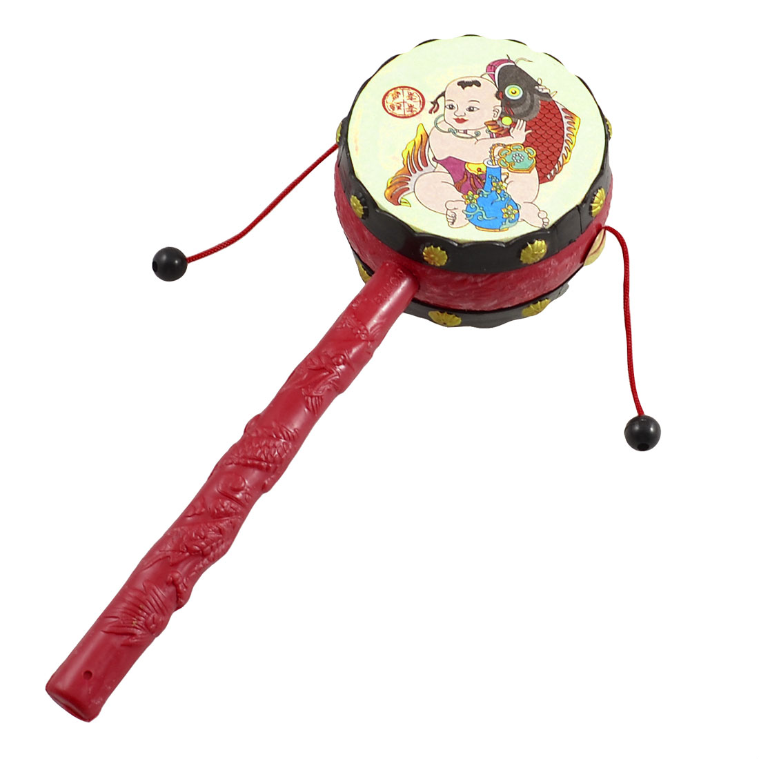 Textured Handle Auspicious Picture Print Rattle Drum Toy Plaything for Baby