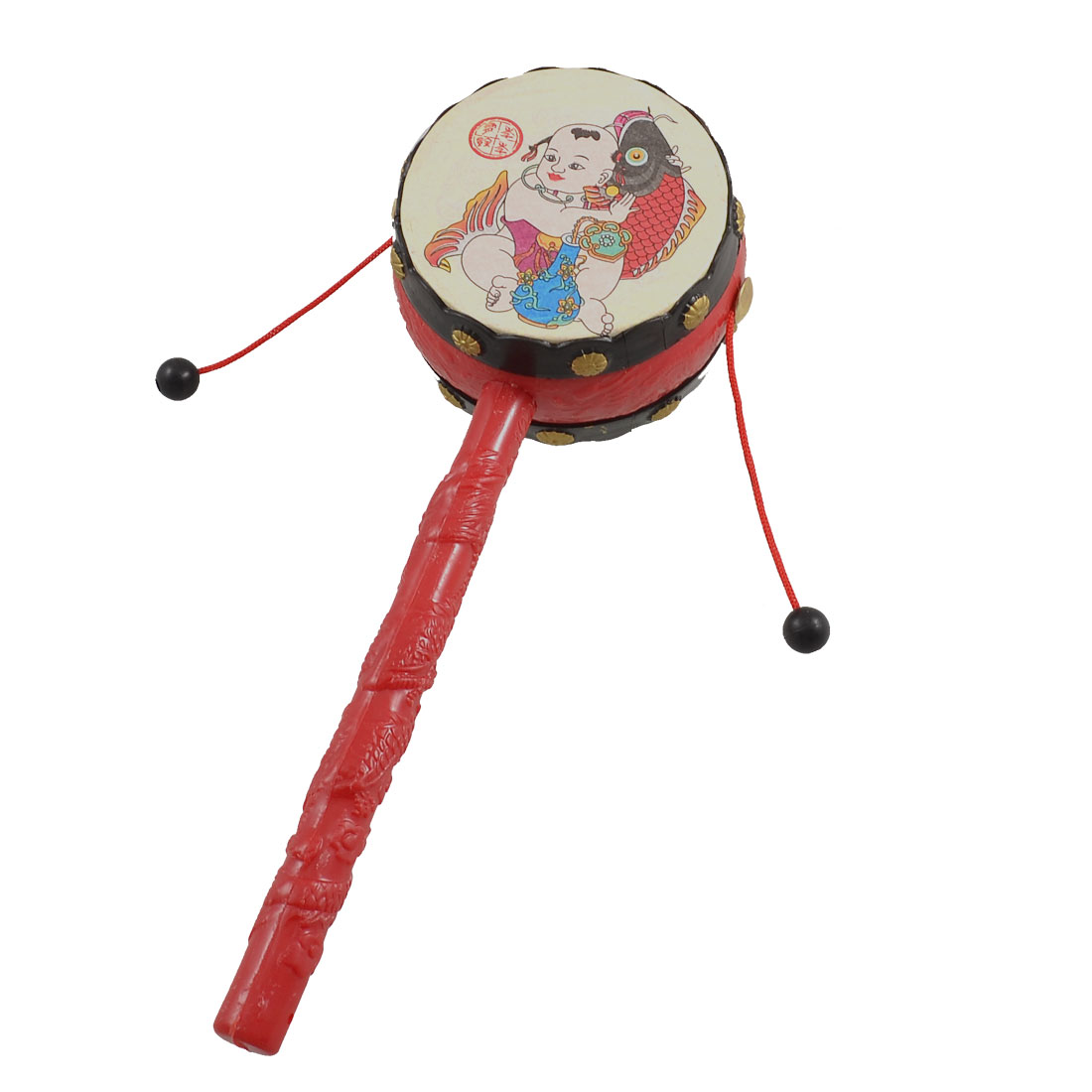 Babies Red Plastic Handle Music Instrument Rattle Drum Sound Toy Gift