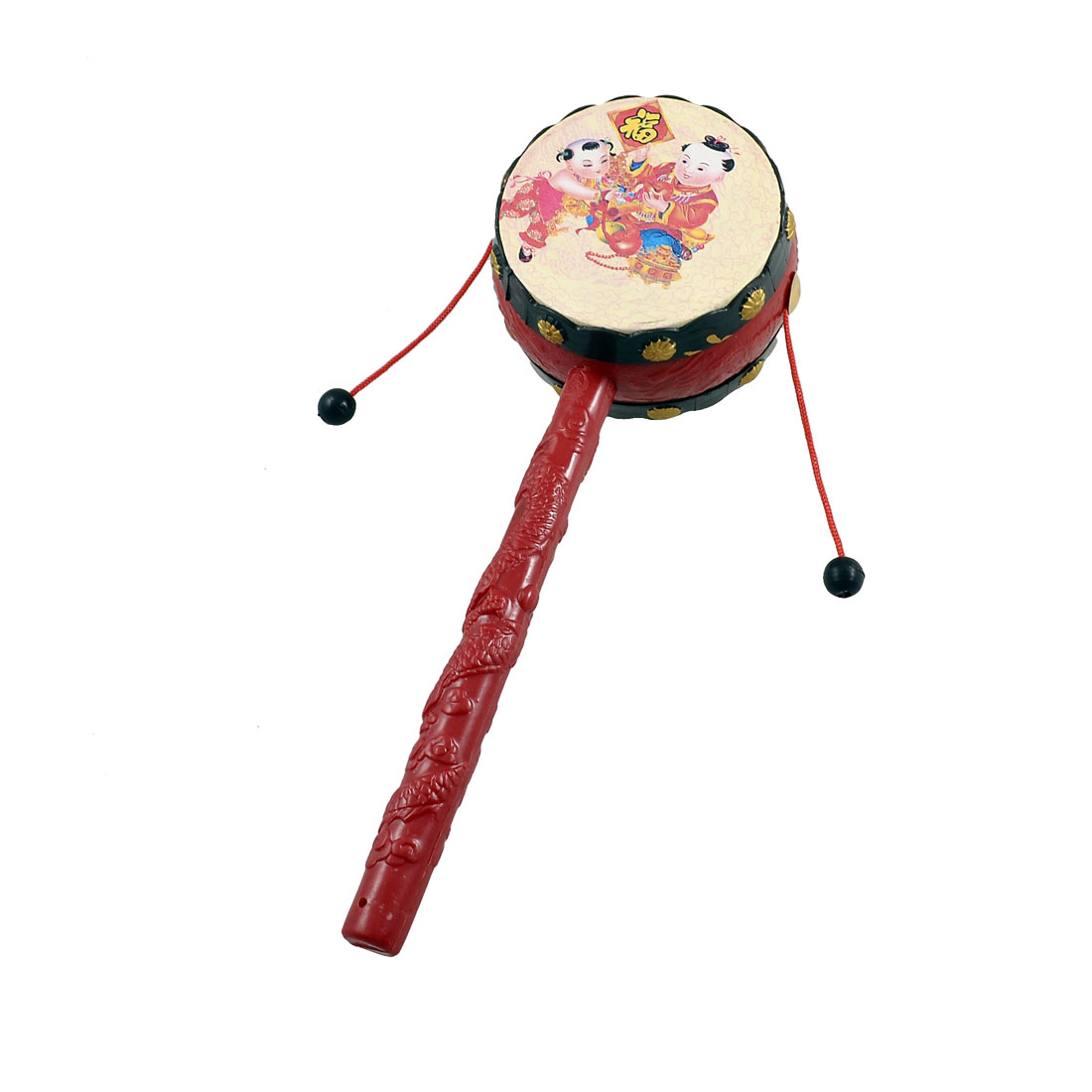 Auspicious Picture Print Dual Side Design Rattle Drum Toy for Baby