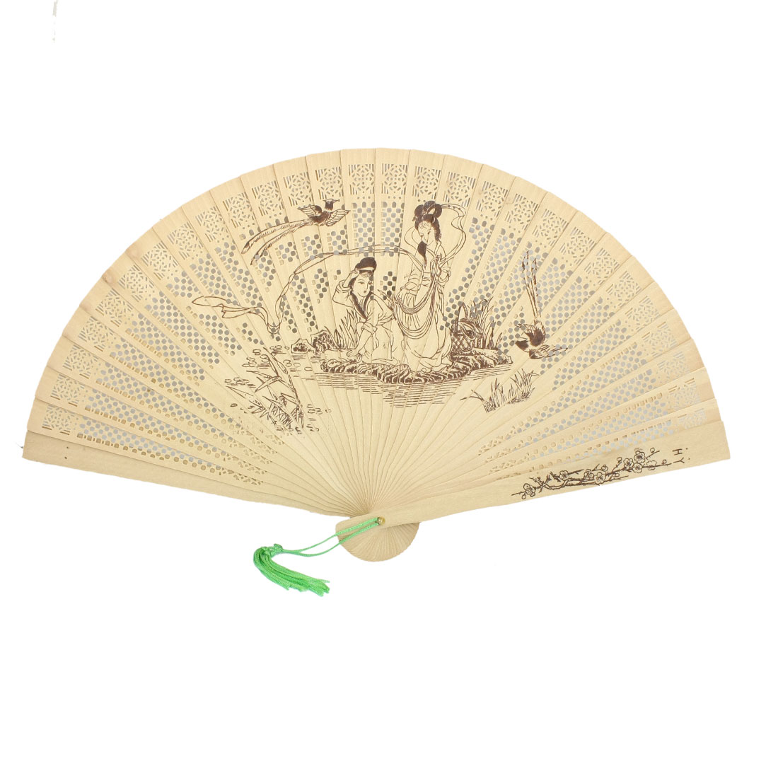Foldable Wooden Carved Flower Lady Print Green Tassel Decor Fragrant Hand Fan