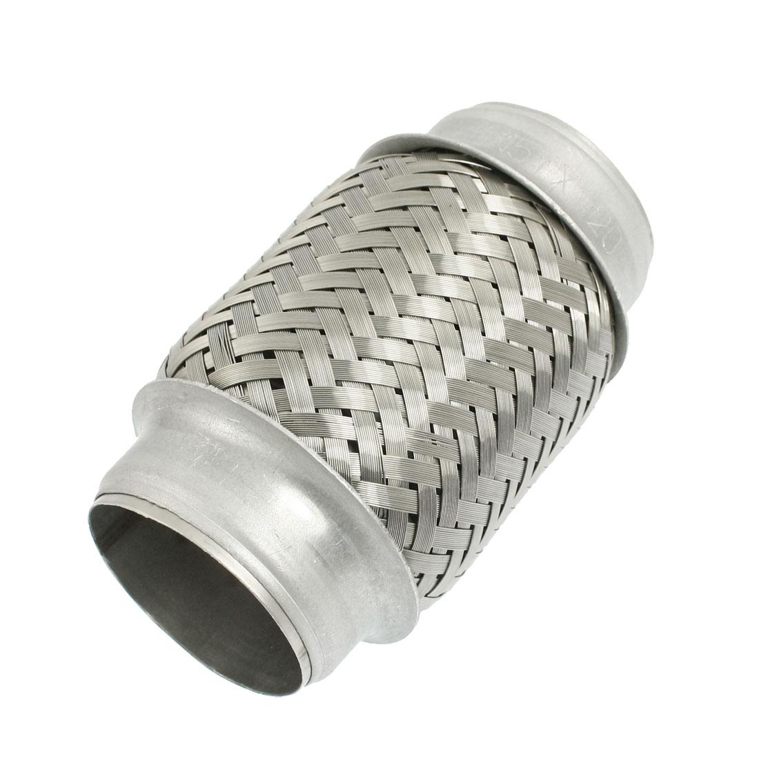 Silver Tone Car Exhaust Pipe Silencer Muffler Tip 51mm x 120mm