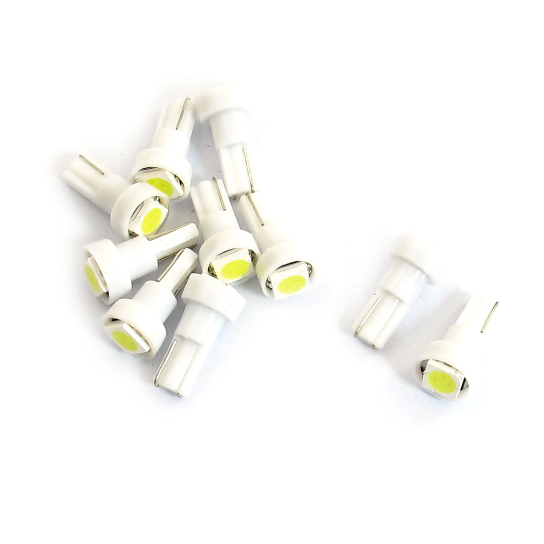 10 Pcs Round Head T5 Bayonet 1 5050 SMD LED Car Dashboard Instrument Panel Light