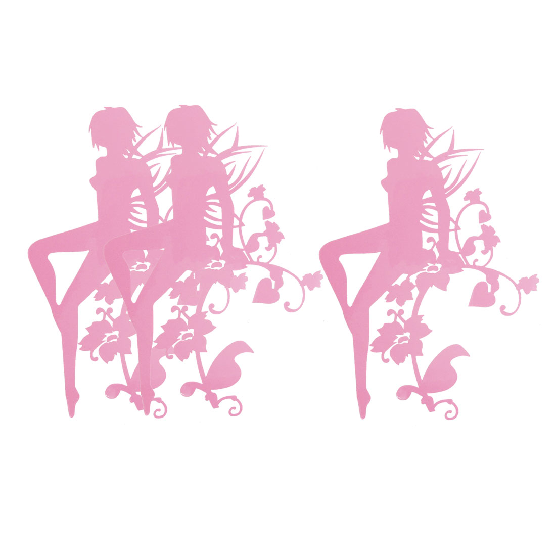 3 Pcs Flower Fairy Print Vinyl Truck Car Graphics Decals Stickers Pink