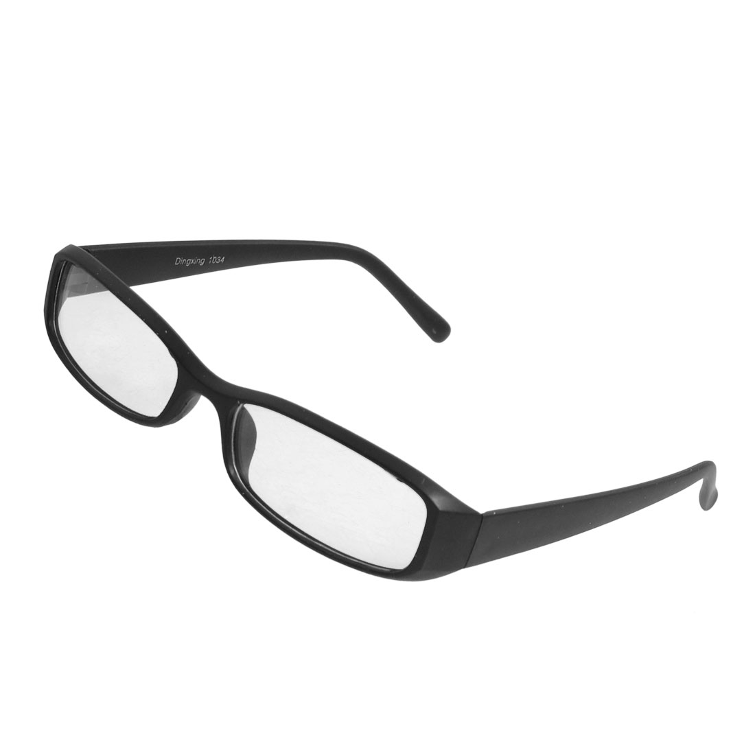 Unisex Black Plastic Full Frame Rectangle Lens Plain Glasses