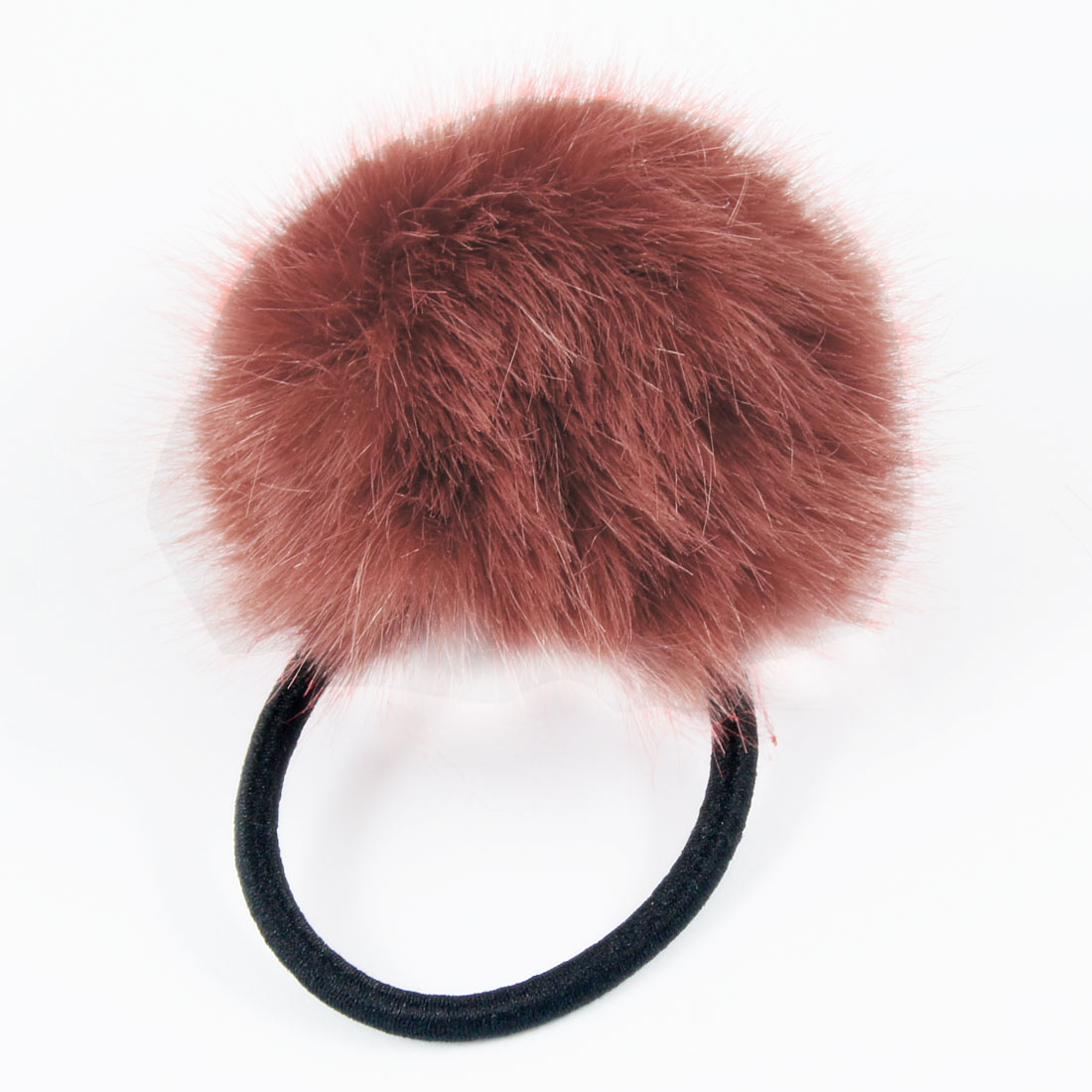Lady Elastic Band Rosybrown Plush Ball Detailing Hair Tie Ponytail Holder