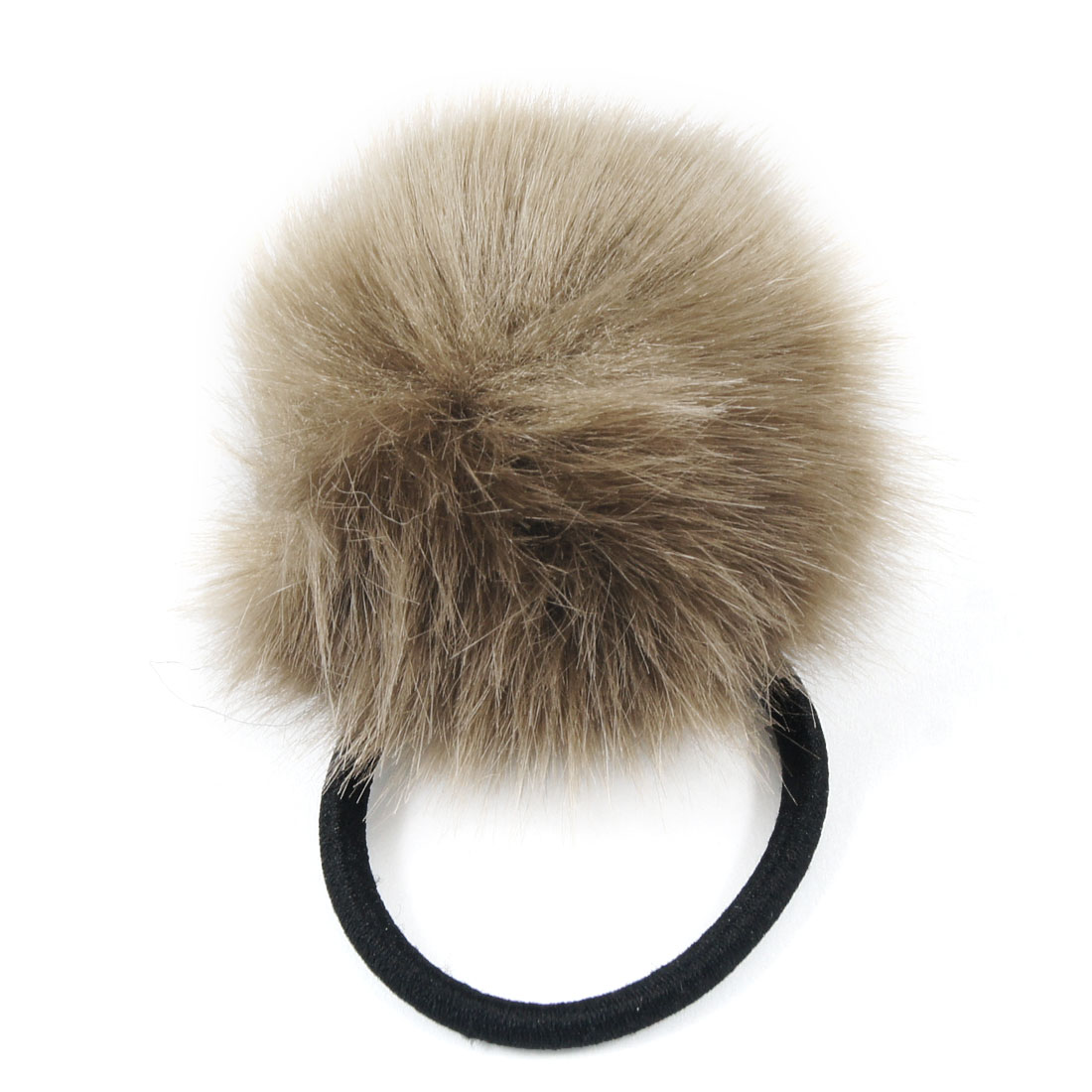 Coffee Color Plush Ball Decor Stretch Band Hair Tie Ponytail Holder for Lady