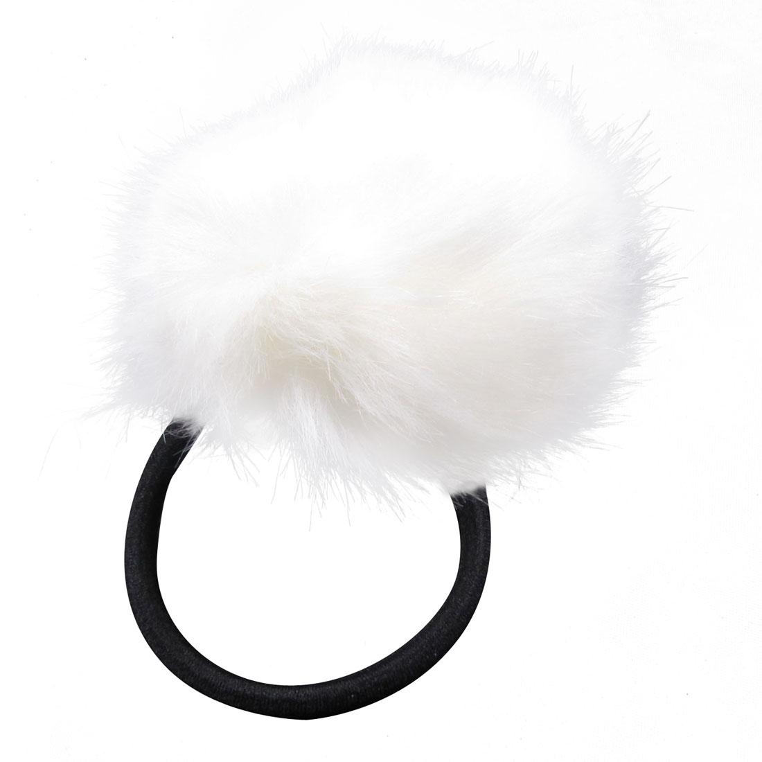 White Plush Ball Decor Black Elastic Band Hair Tie Ponytail Holder for Lady
