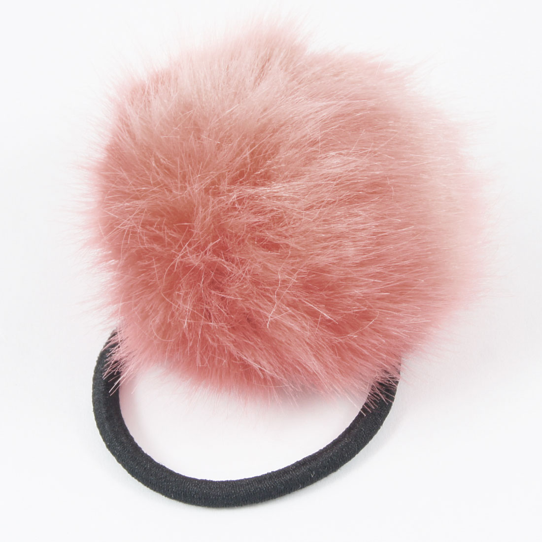 Women Elastic Band Peach Pink Plush Ball Detail Hair Tie Ponytail Holder