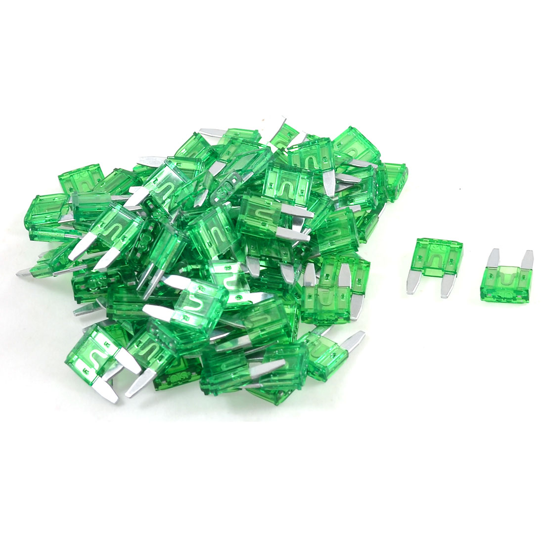 Green 30A Mini Blade Fuses Set for Vehicle Car Auto 100 Pcs