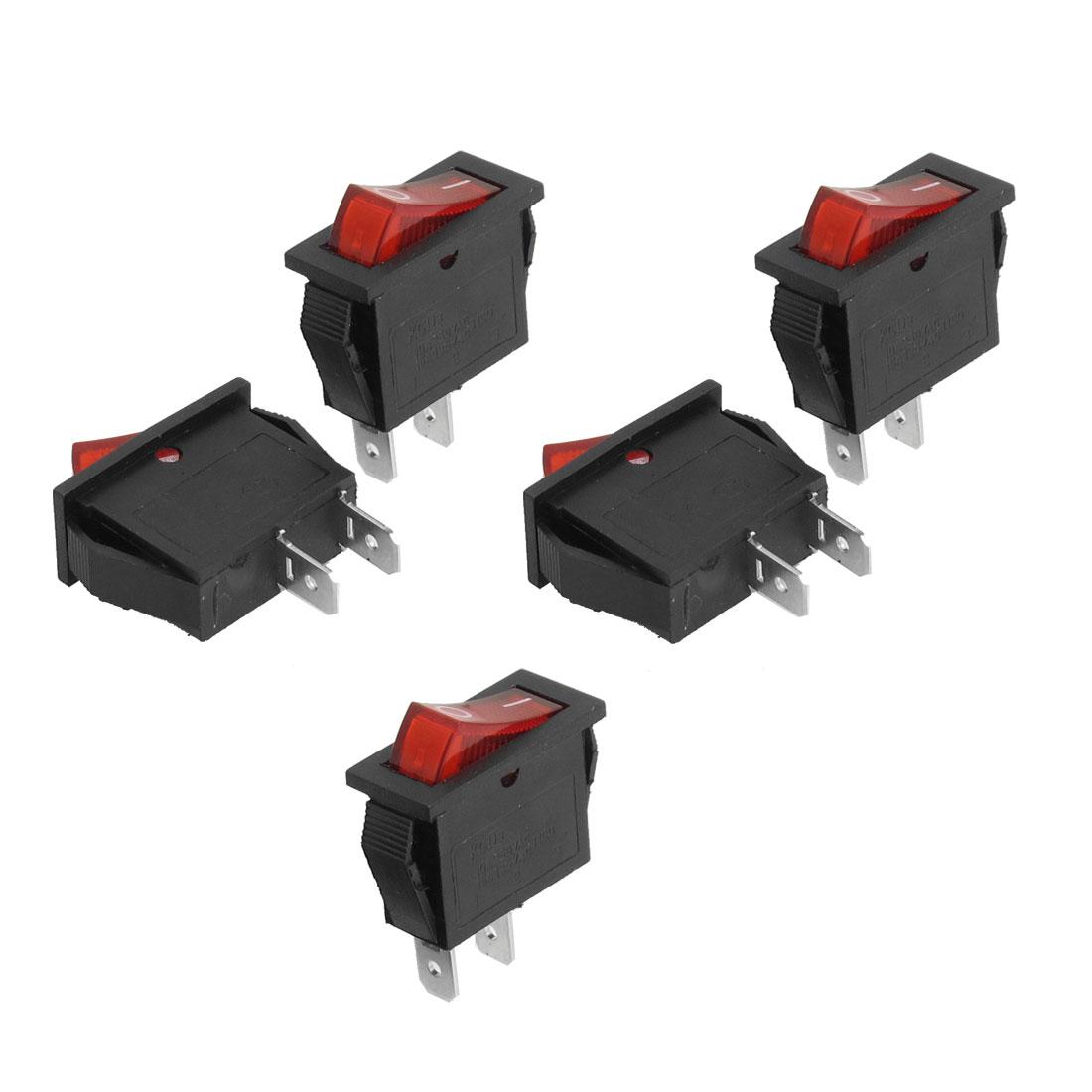 5 Pcs AC 250V 10A AC 125V 15A SPST Red Button Boat Rocker Switch