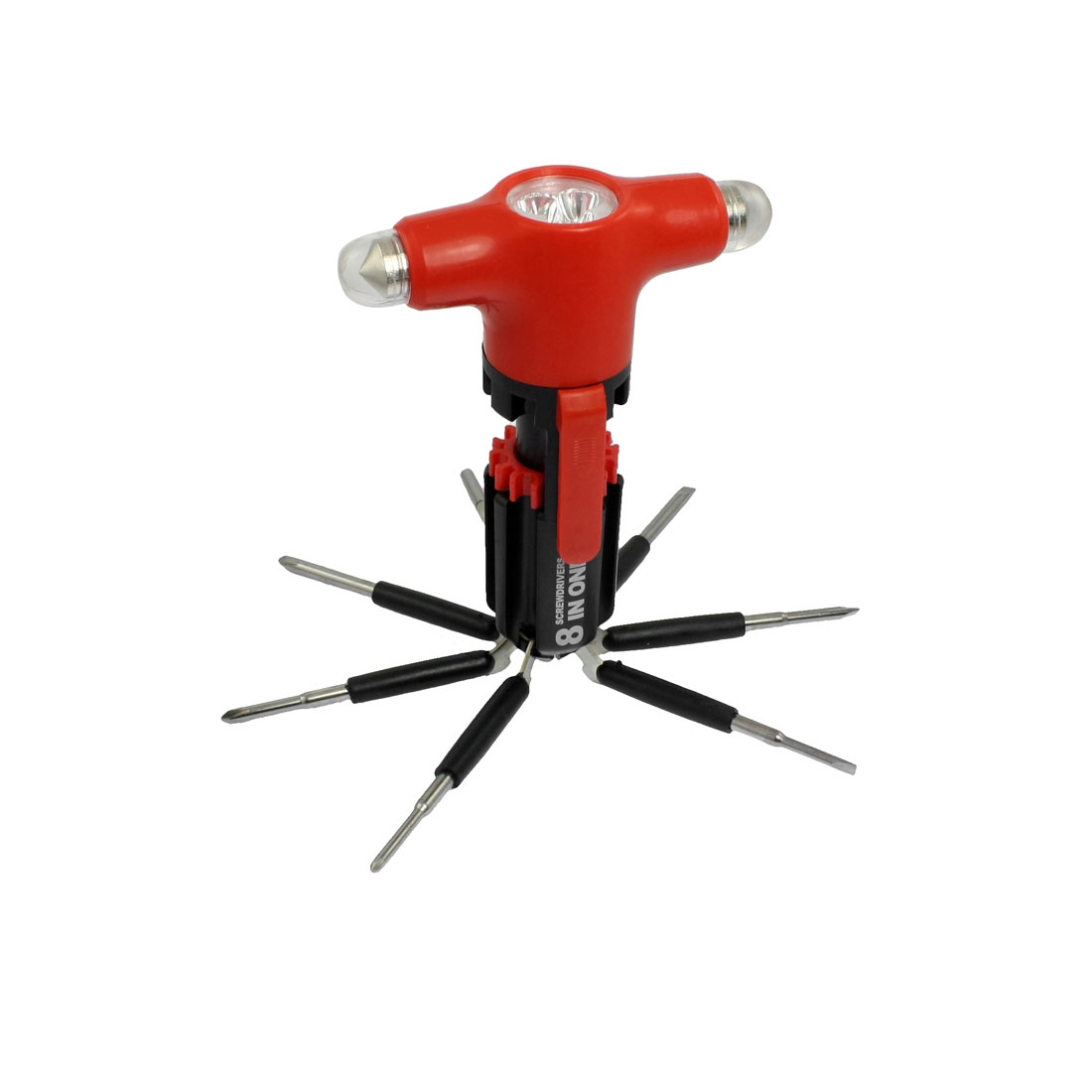 Red Black Folding 7 Screwdriver LED Flashlight Safety Hammer Tool Kit