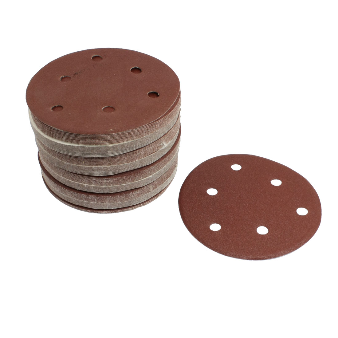 "100 Pcs 80 Grit 6 Hole 5"" Diameter Sandpaper Hook Loop Sanding Discs"