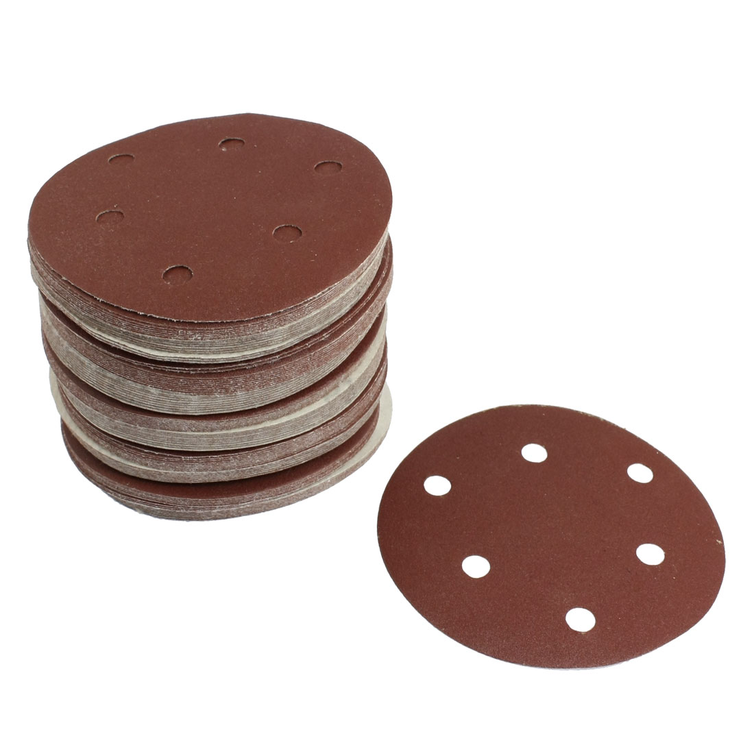 "100 x 180 Grit 6 Hole 5"" Diameter Sandpaper Hook Loop Sanding Disc 125mm"