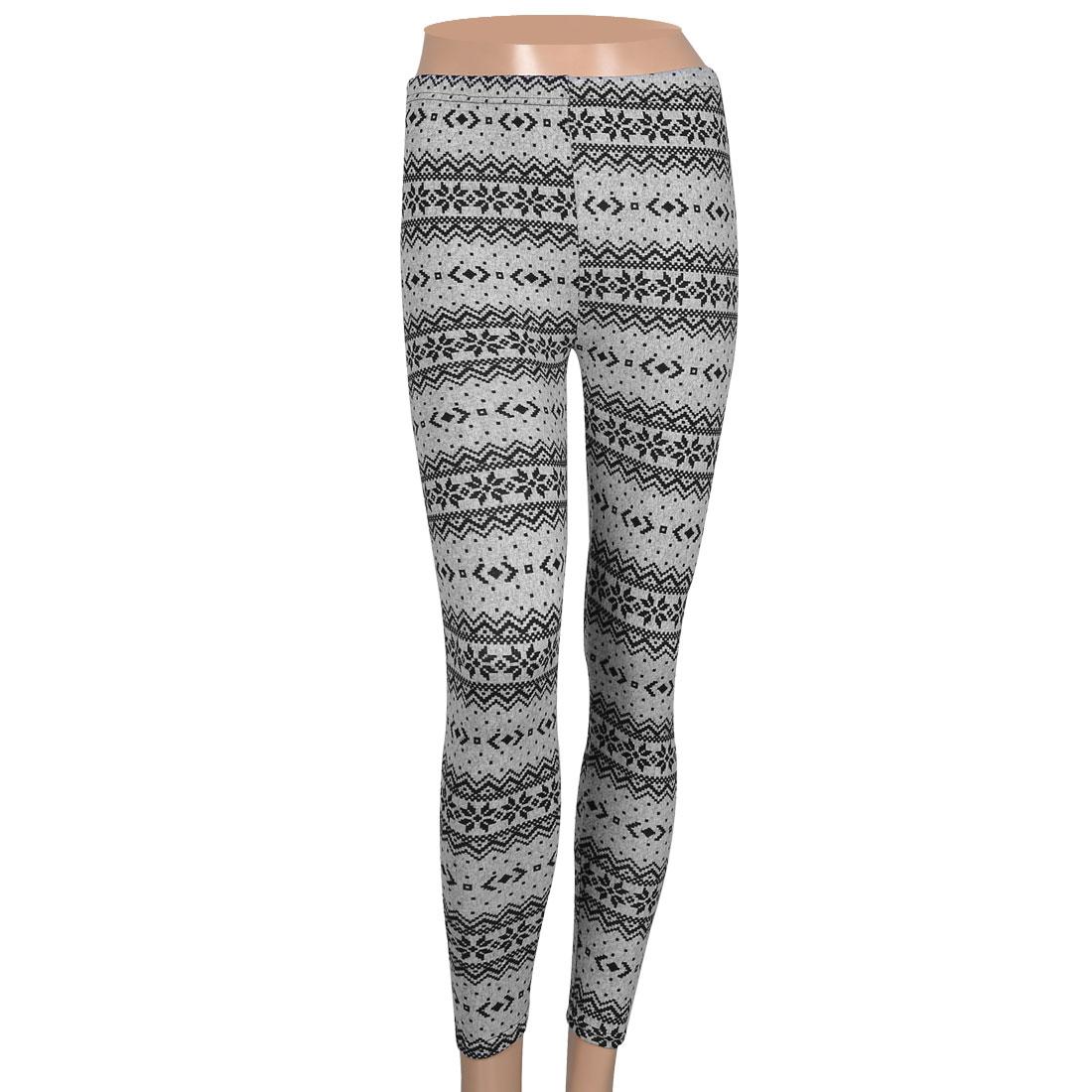 Lady Black Nordic Pattern Light Gray Winter Kniting Leggings XS
