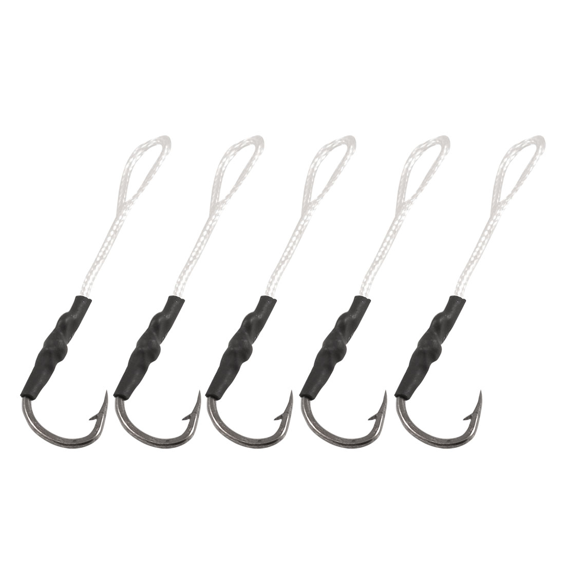 5 Pcs White Nylon String Metal Barb Fishing Tackle Fishhooks