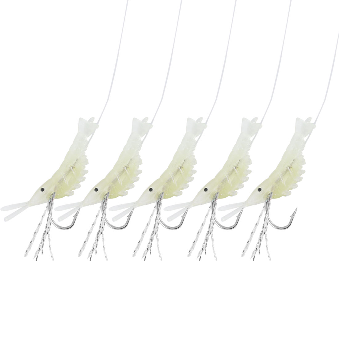 9# Fishing Line 5 in 1 Luminous Silicone Shrimp Bait Fishhooks