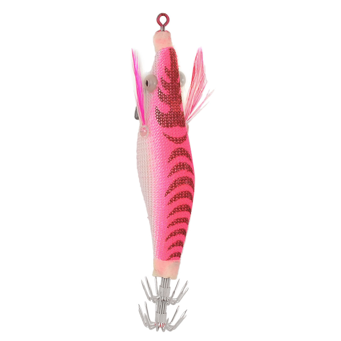 Striped Hot Pink White Bait Lure Multi Hooks Fishing Tackle