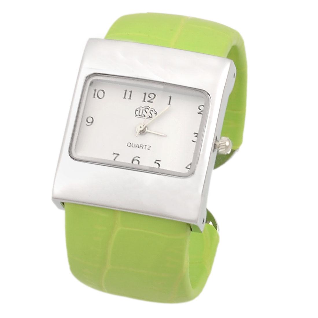 Rectangle Dial Green Crocodile Print Band Bracelet Wrist Watch for Woman Girls