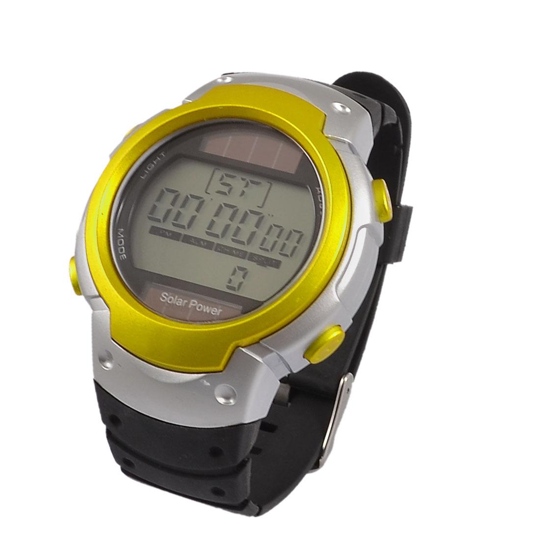 Men Single Metal Pin Yellow Blue Round Case Adjustable Wristband Sports Alarm Stop Watch