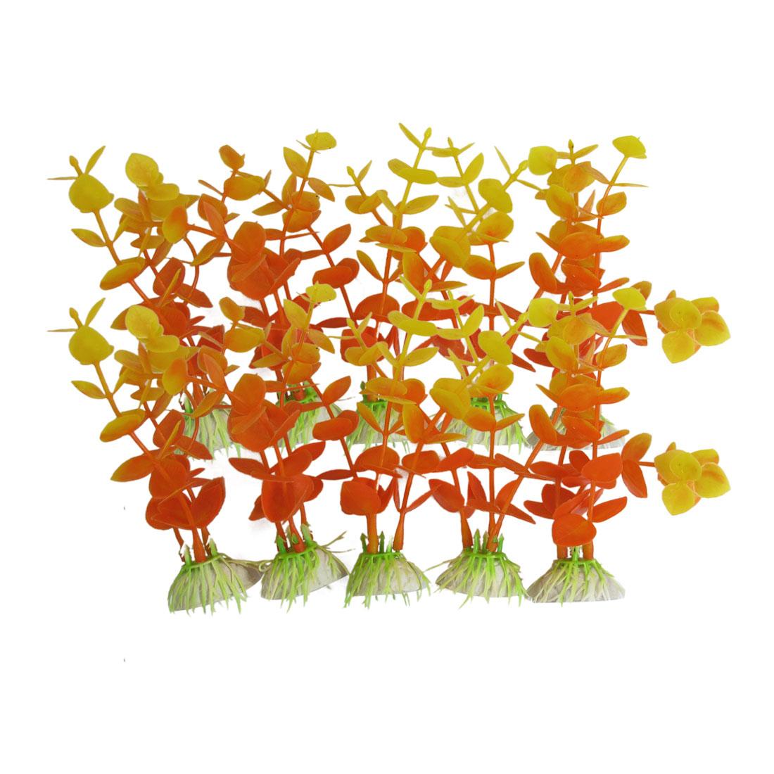 "10 Pcs Tank Aquarium Yellow Orange Plastic Aquatic Grass Plant Decor 4.7"" Height"