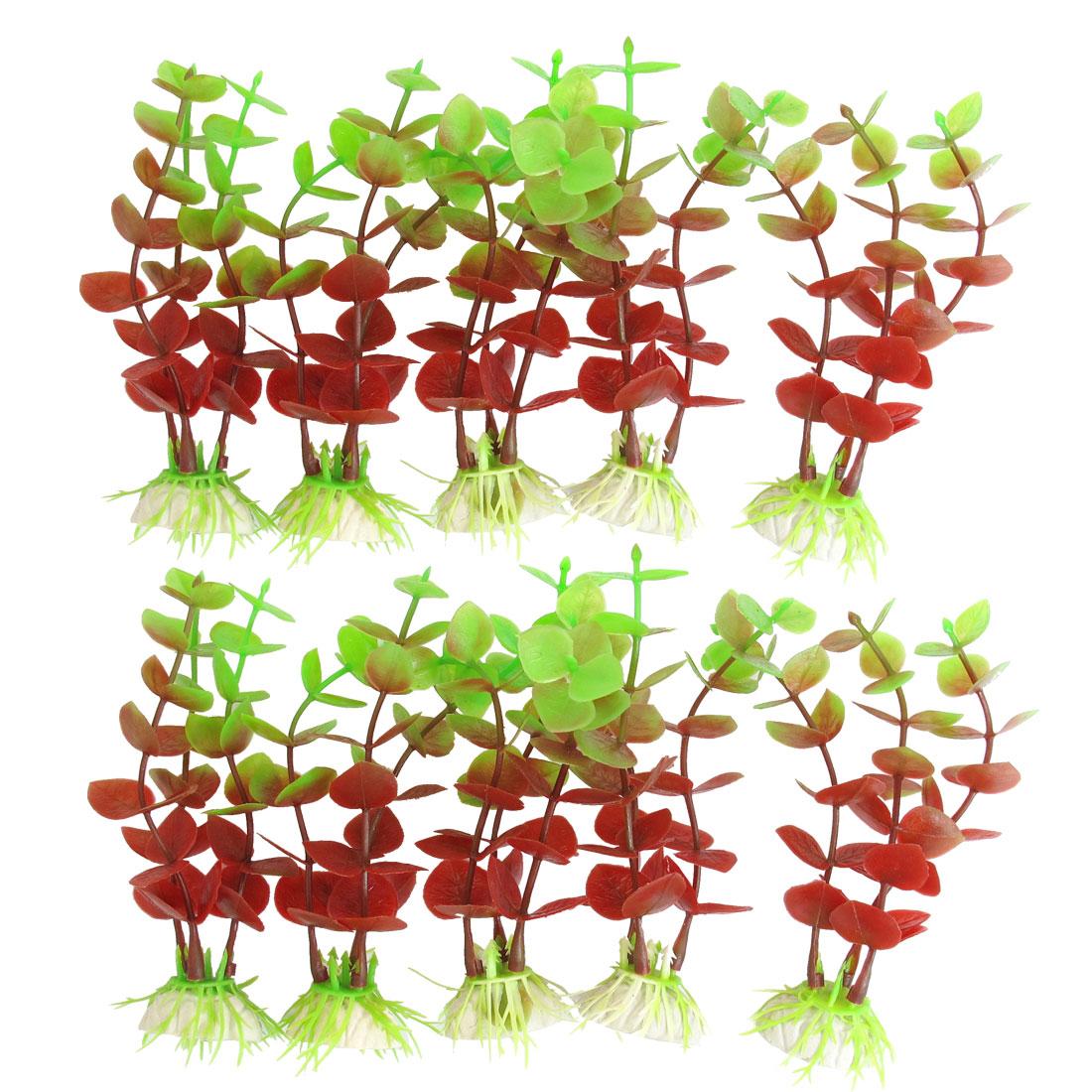 """10 Pcs Tank Aquarium Purple Green Plastic Aquatic Grass Plant Decor 4.7"""" Height"""